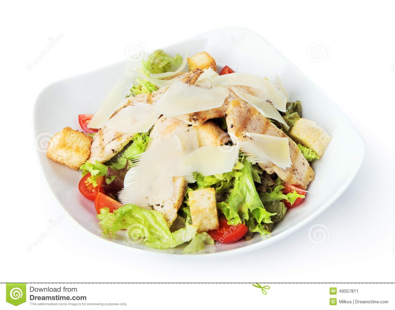 Restaurant Food Isolated Chicken Caesar Salad Stock Image Image