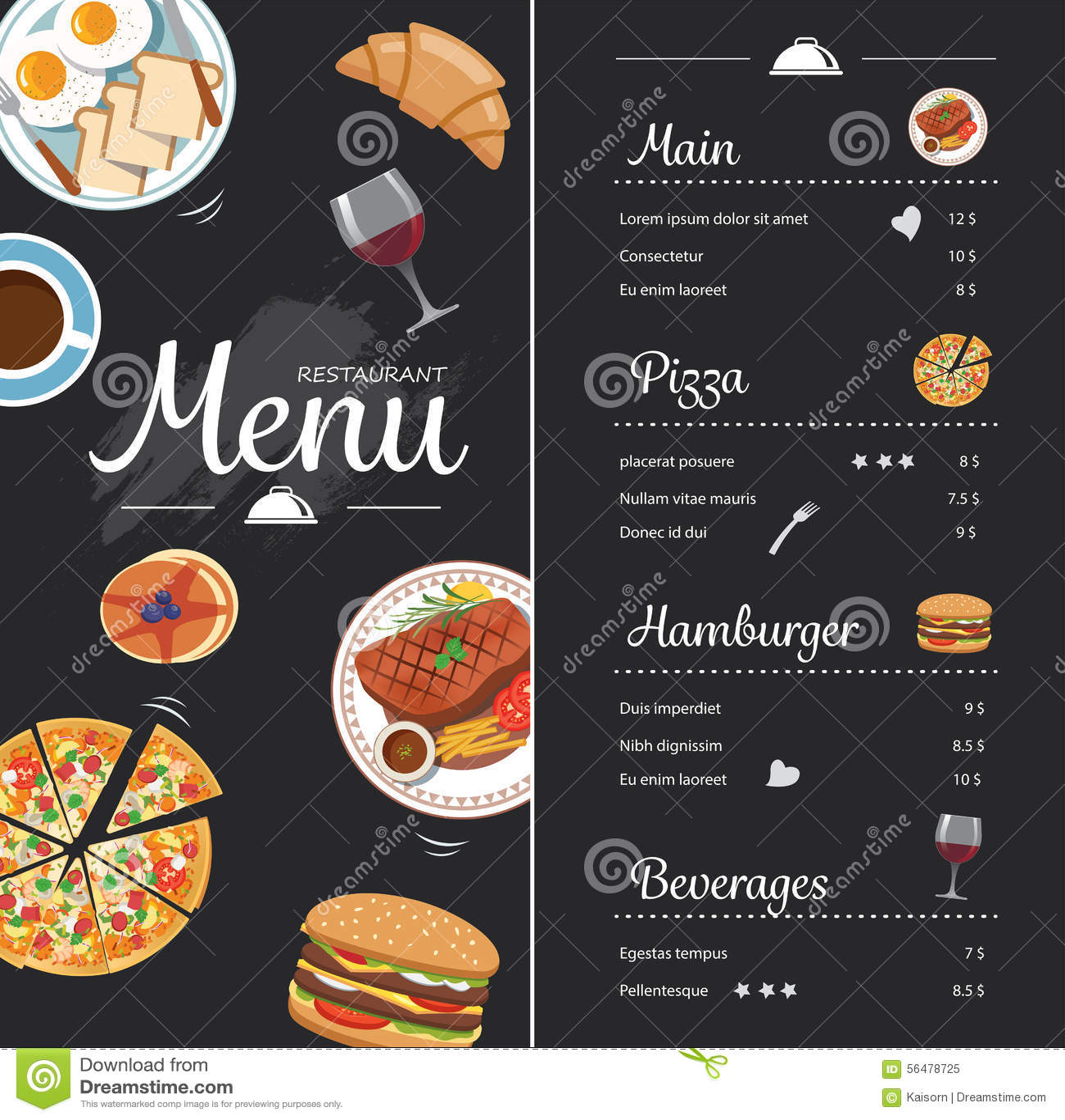 Restaurant Food Menu Design With Chalkboard Stock Vector