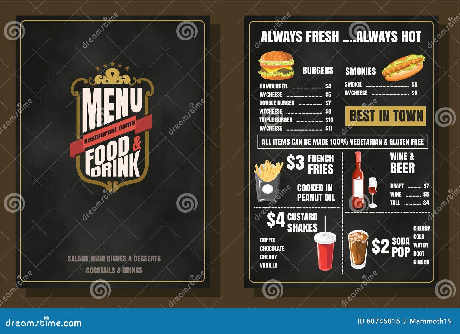 restaurant food menu vintage design with chalkboard