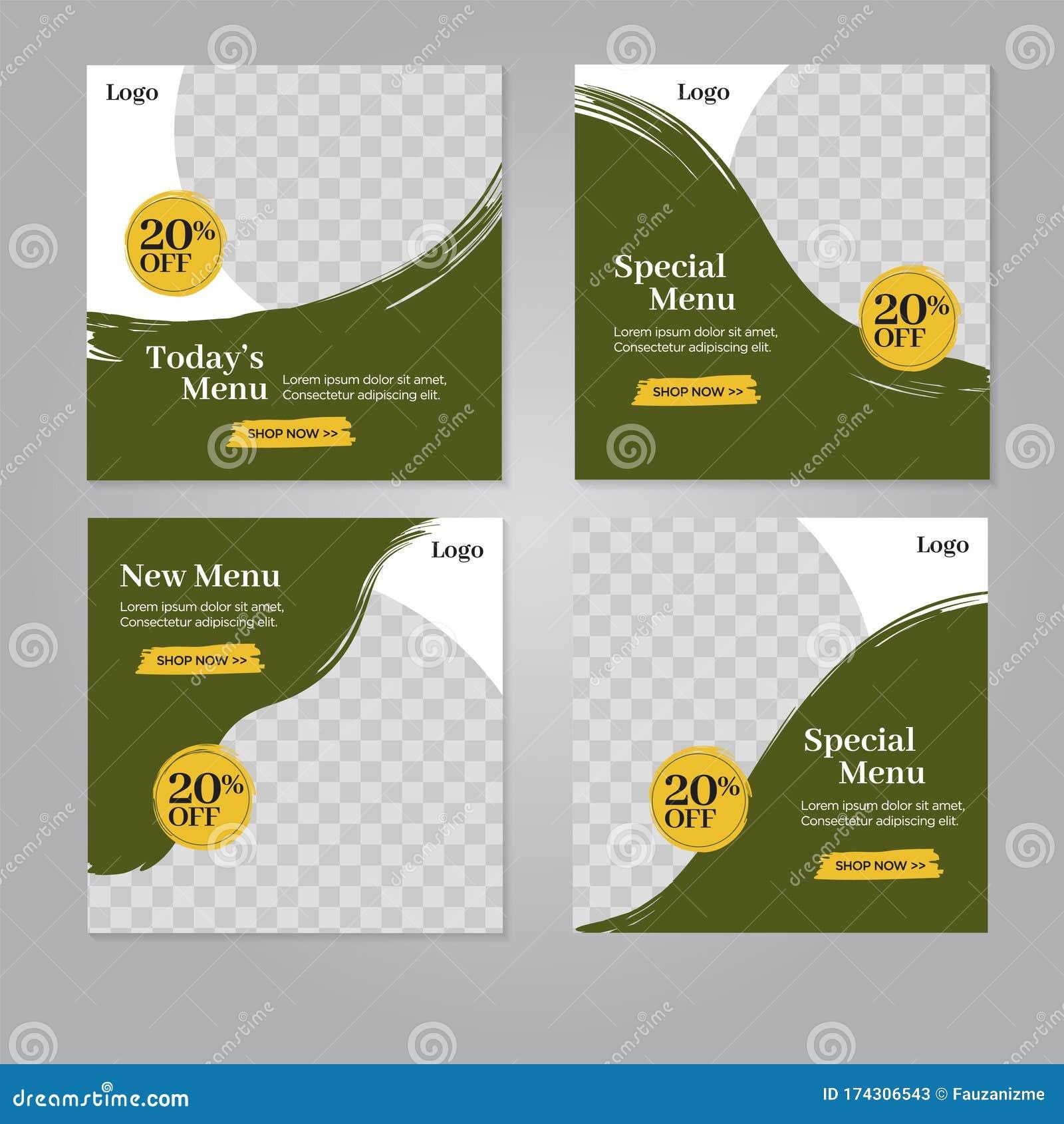 Restaurant Food Social Media Banner Post Design Template Stock Vector Illustration Of Poster Banner 174306543