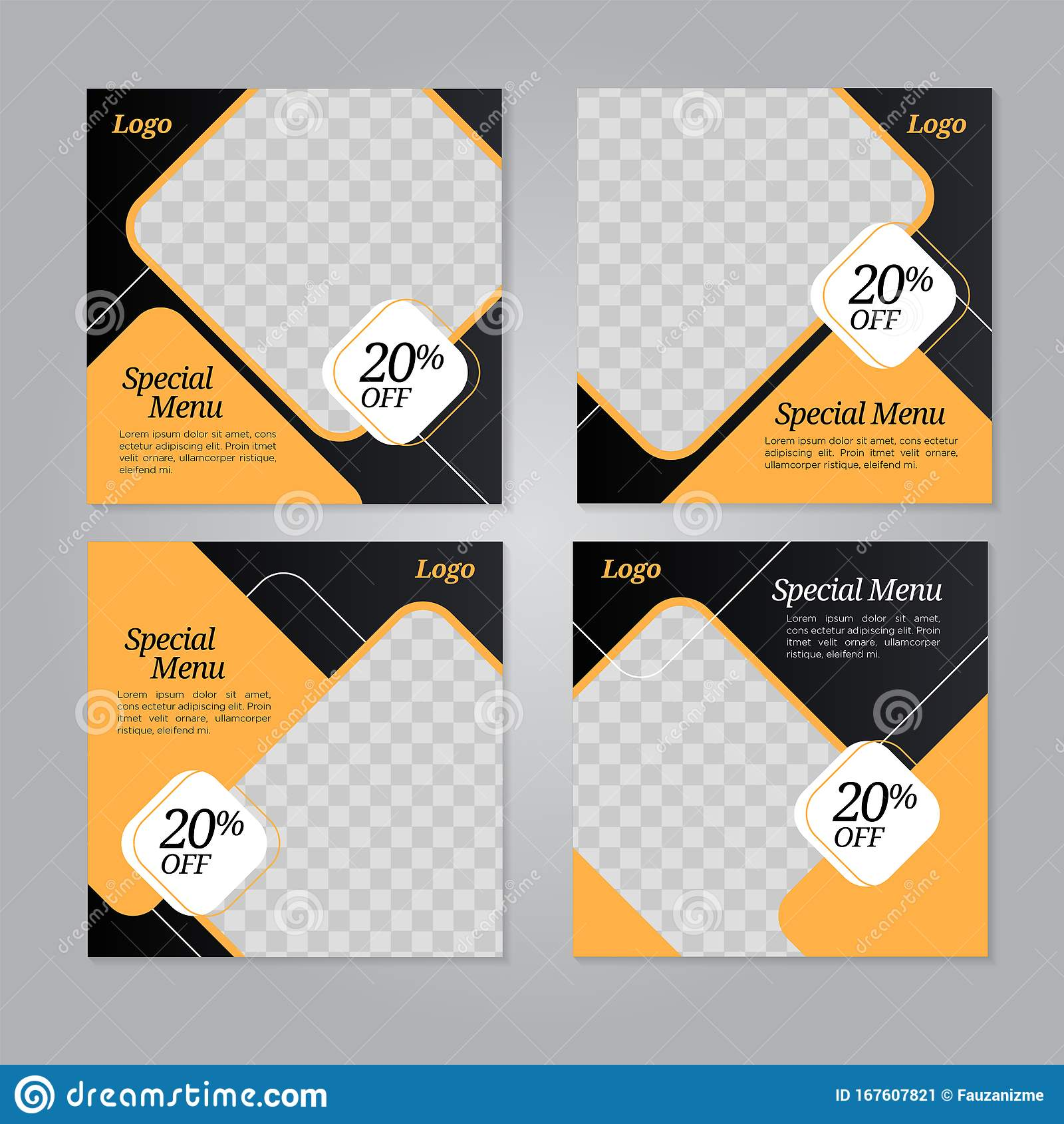 Restaurant Food Social Media Banner Post Design Template Stock Vector Illustration Of Post Social 167607821