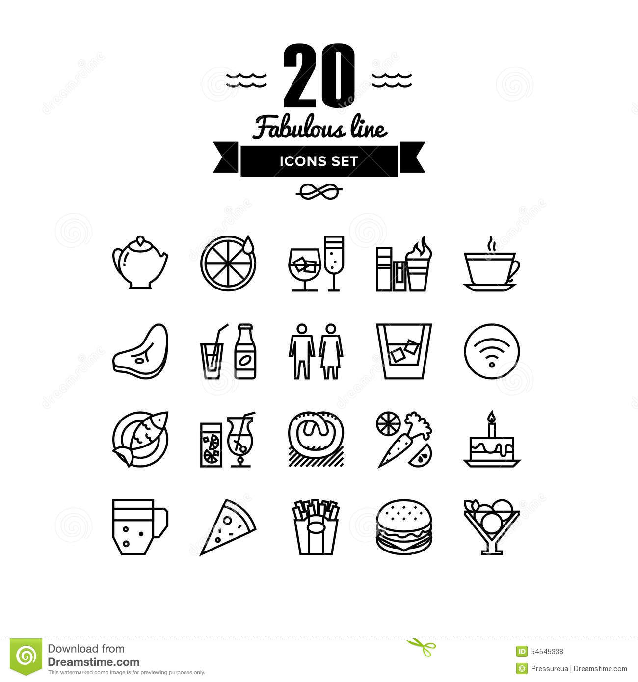 Restaurant foods and beverages line icons set stock vector