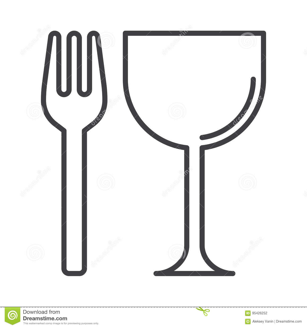 Restaurant Fork And Glass Line Icon Outline Vector Sign Linear