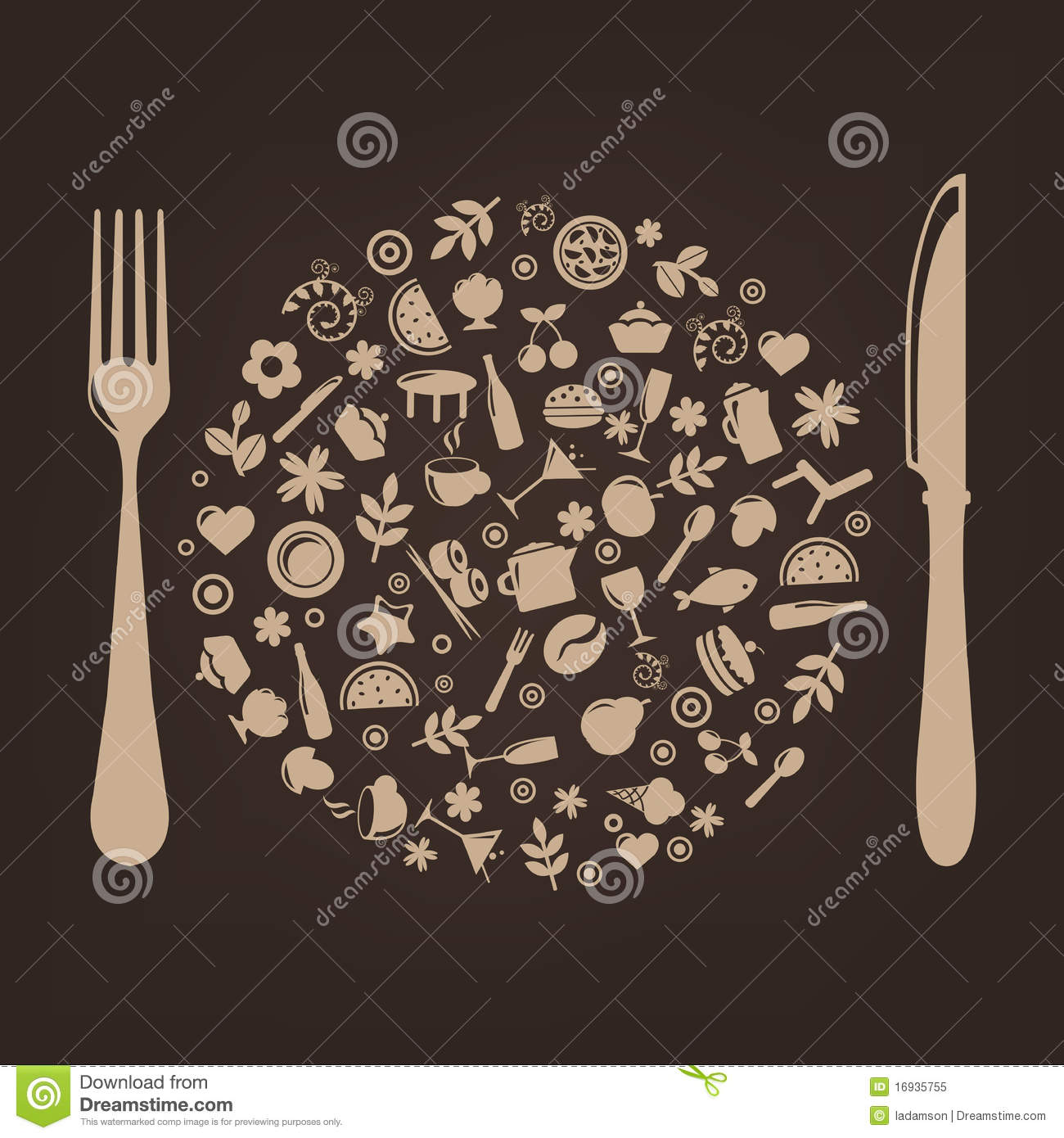 Restaurant Icons In Form Of Sphere Vector Stock Vector