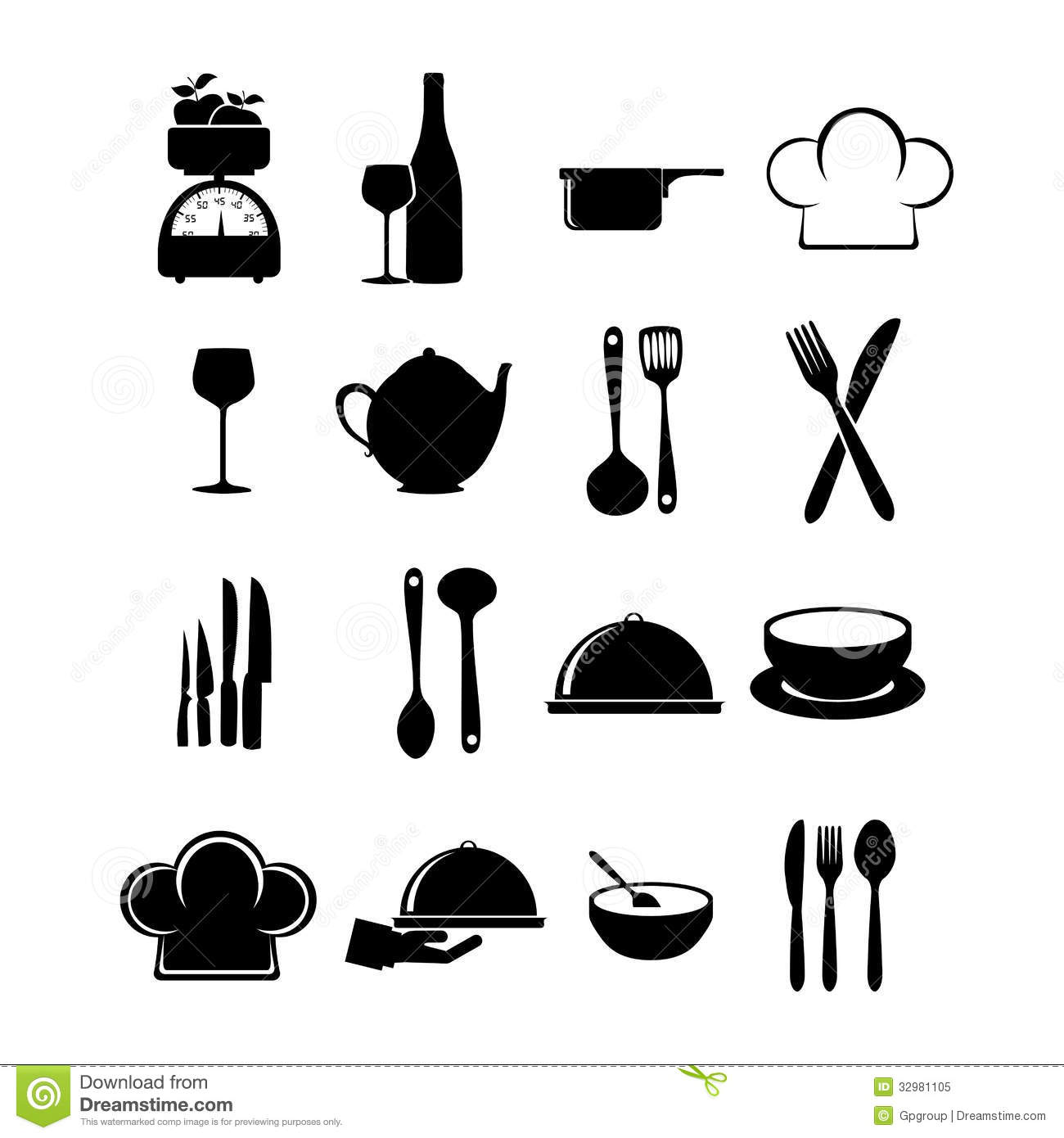 Restaurant icons stock vector image of hand
