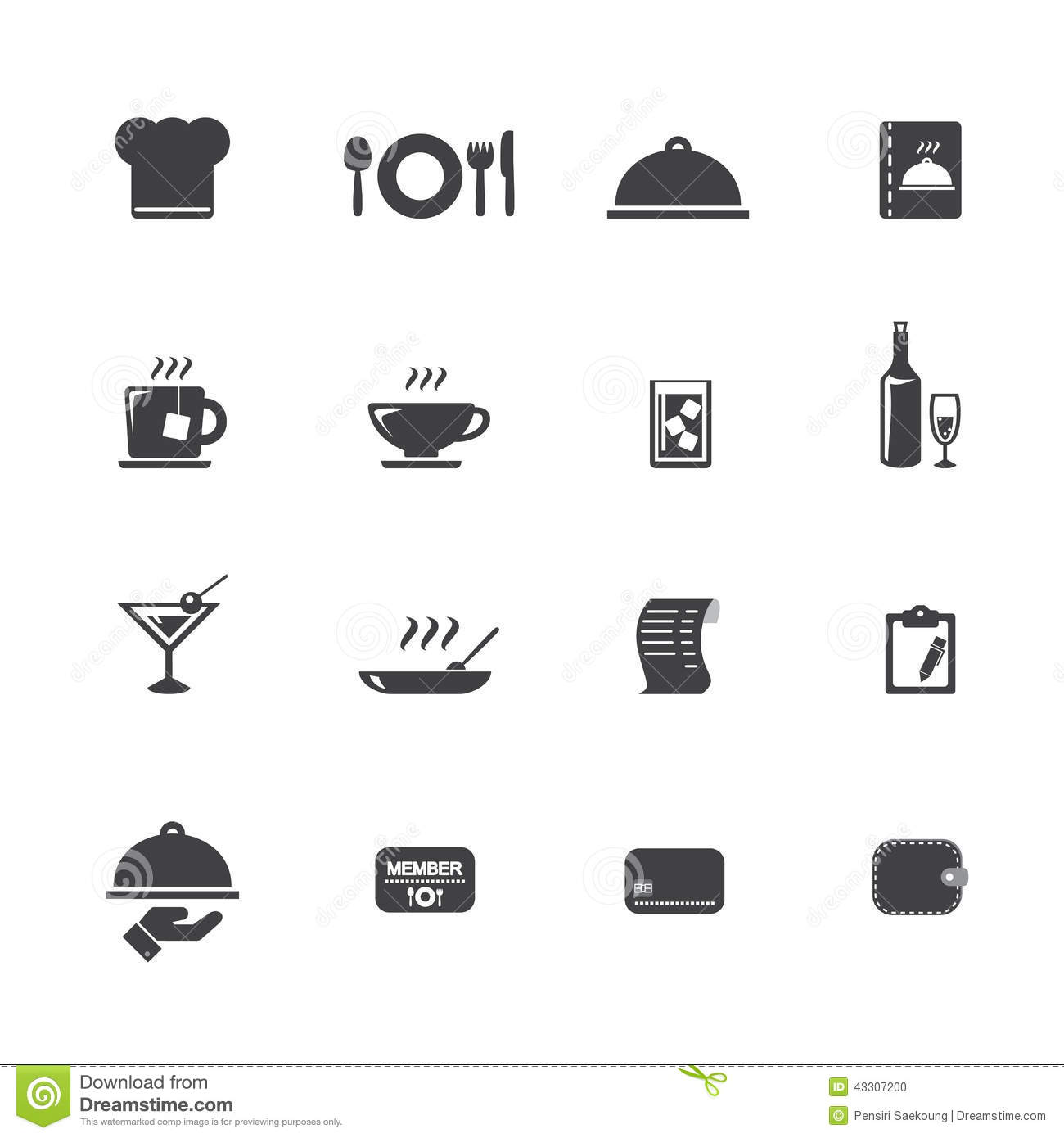 Restaurant icons stock vector image