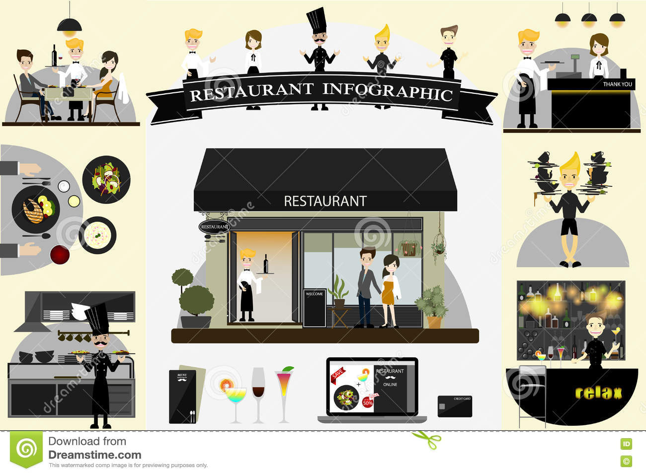 Restaurant info graphic flat design vector illustration