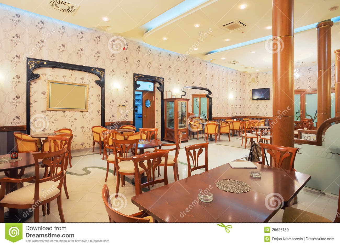 Restaurant interior stock image of armchairs empty