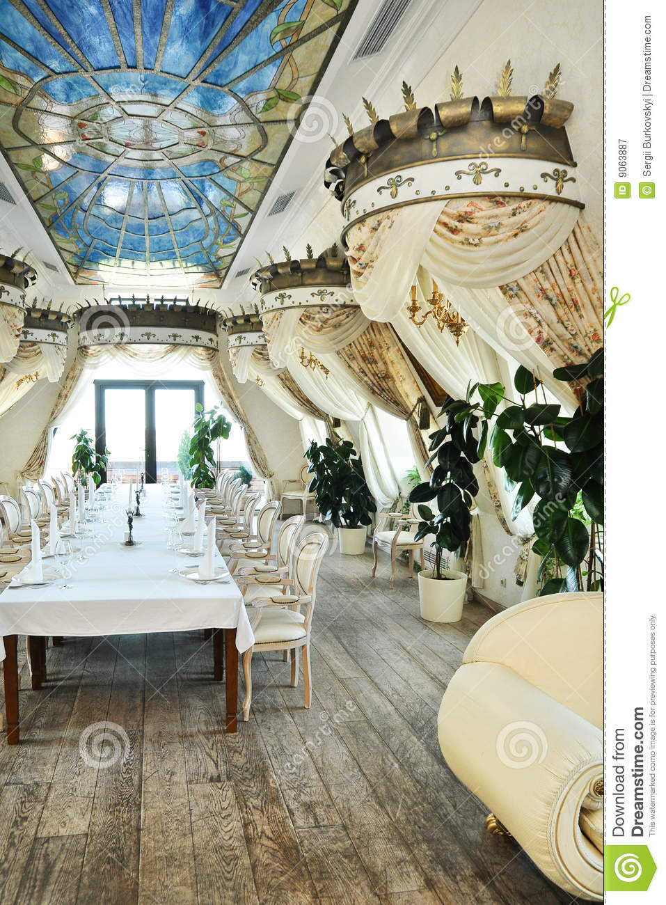 Restaurant interior in baroque style stock image