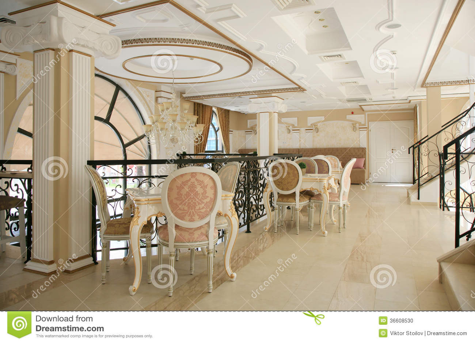 Restaurant interior stock photo image of empty interior for Baroque hotel