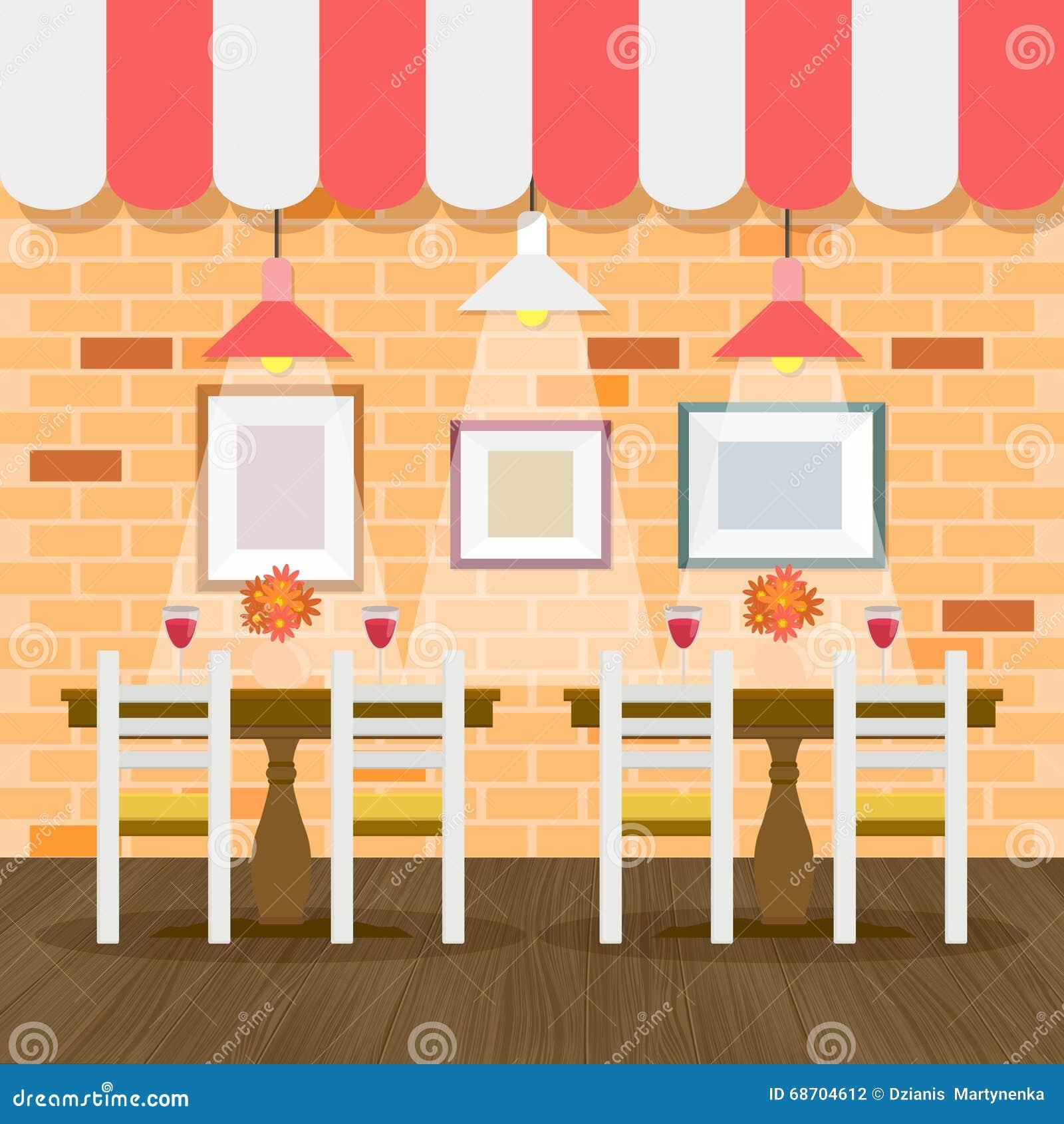 Restaurant Interior With Bricks Wall Stock Vector - Illustration of ...
