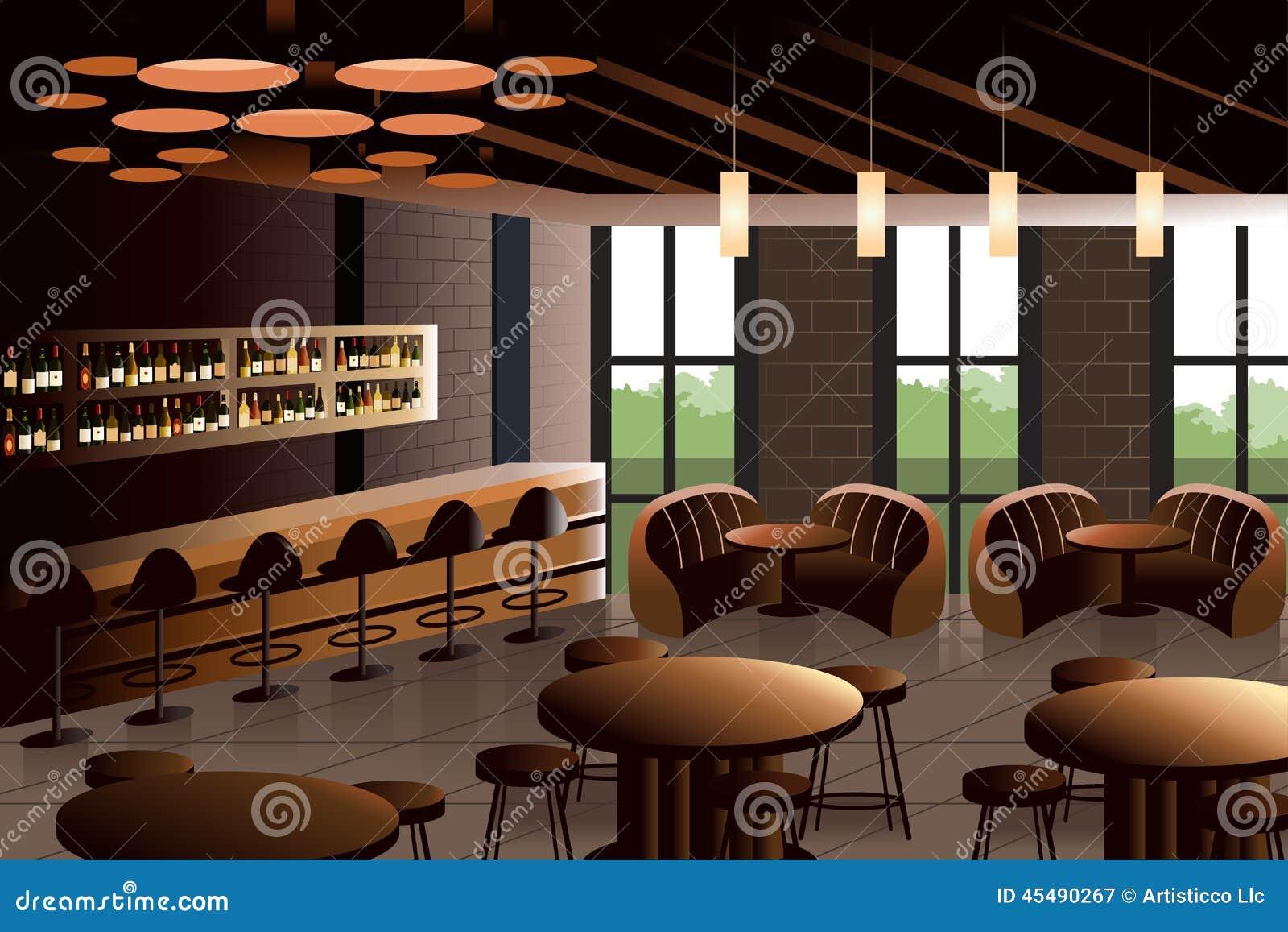 Restaurant interior with industrial look stock vector