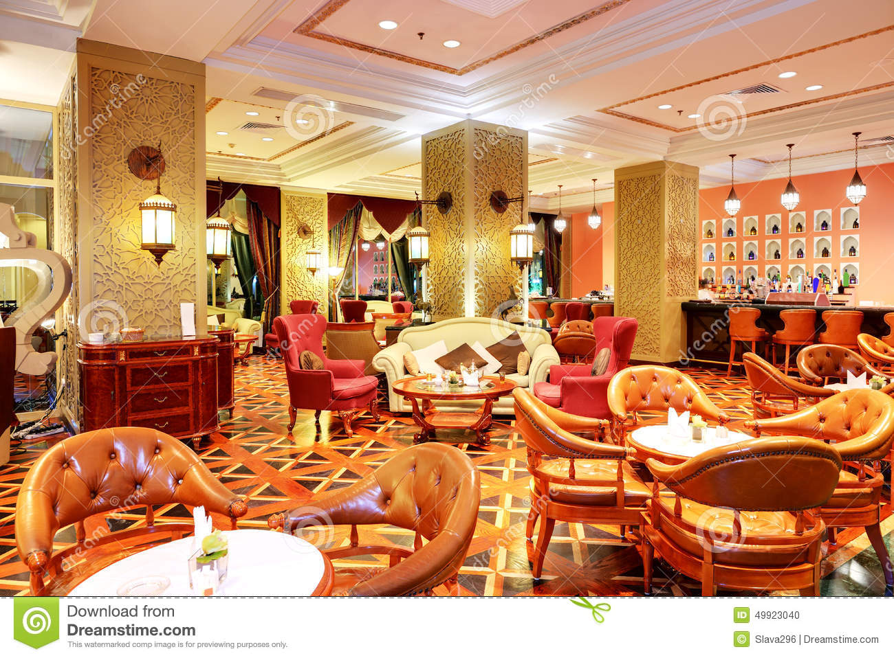 Luxury restaurant interior royalty free stock photo
