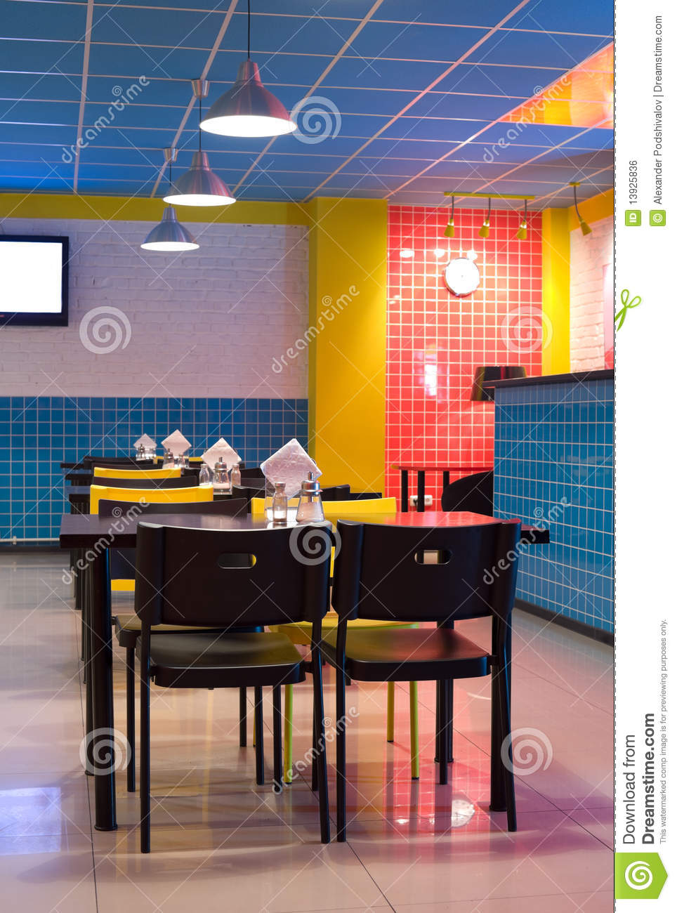 Restaurant interior in pop art style stock photo image