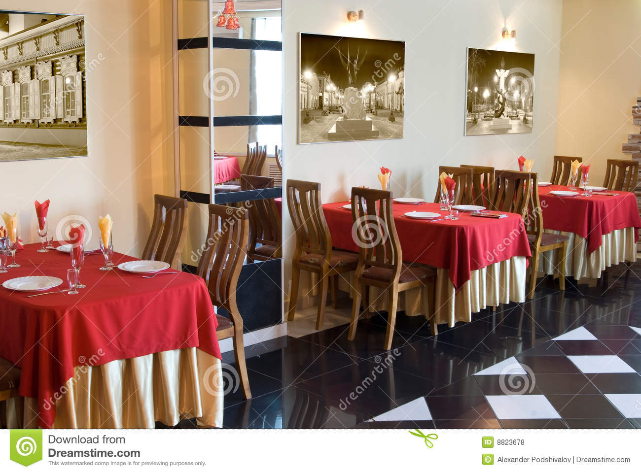 Restaurant interior with red beige tablecloths royalty