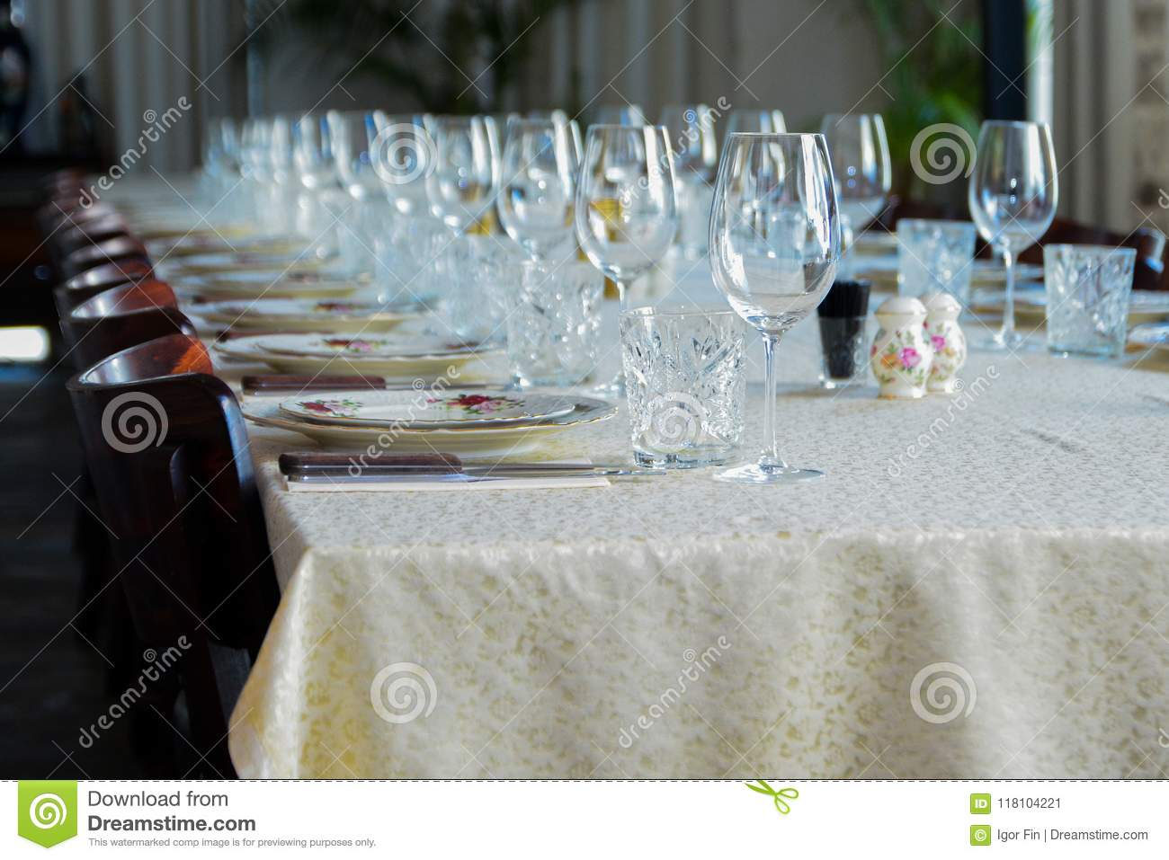 Restaurant Interior- Table Set With Sum, Candle Cups - Stock Image ...