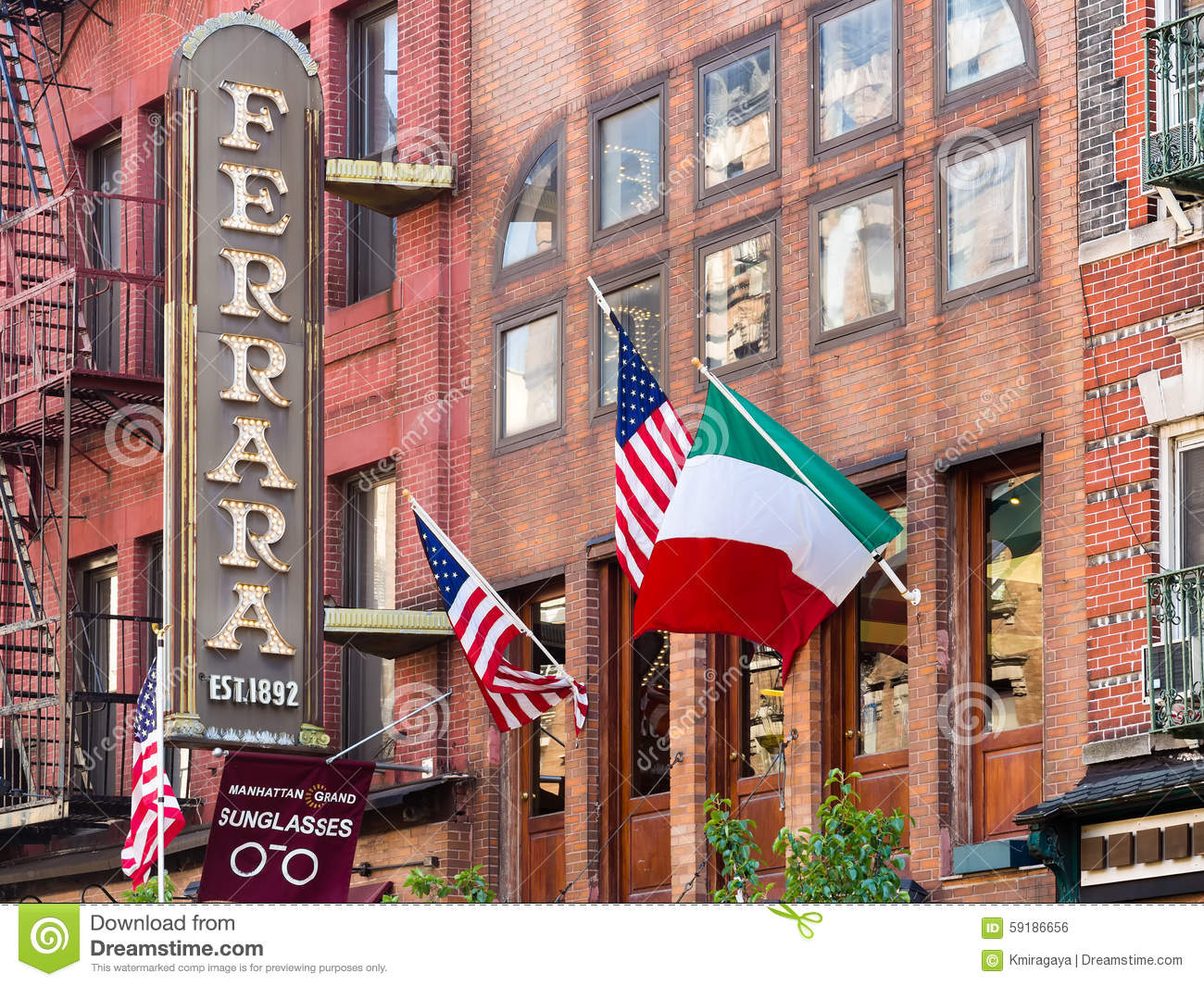 Restaurant And Italian Flags At Little Italy In New York
