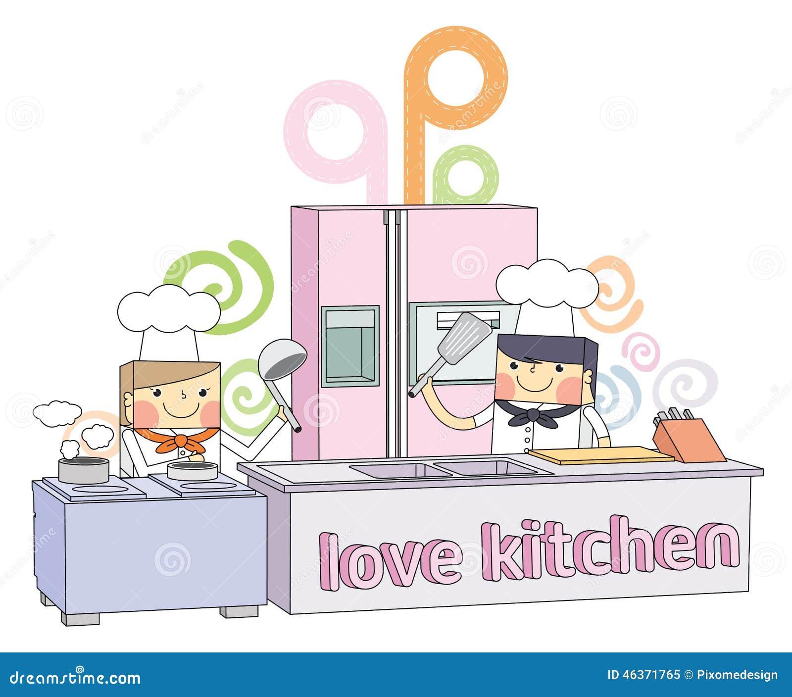 Restaurant Kitchen Illustration restaurant kitchen chef line character illustration stock vector