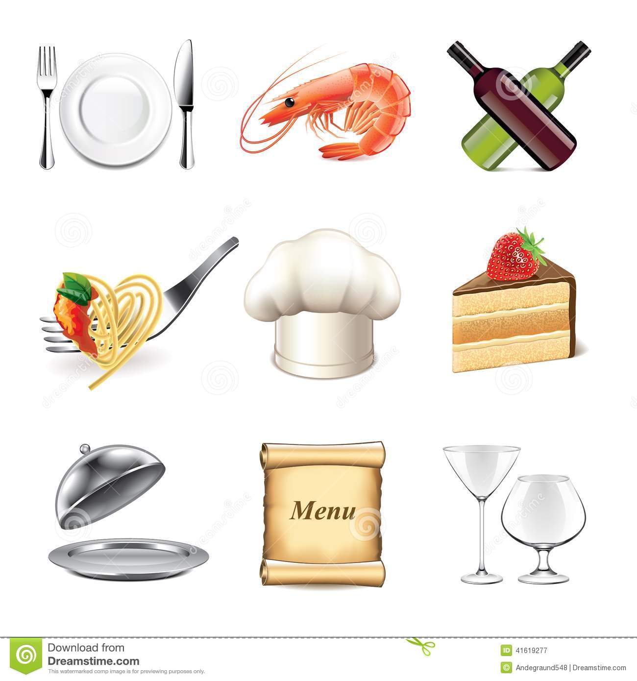 Restaurant and kitchen icons vector set stock vector for Kitchen set vector
