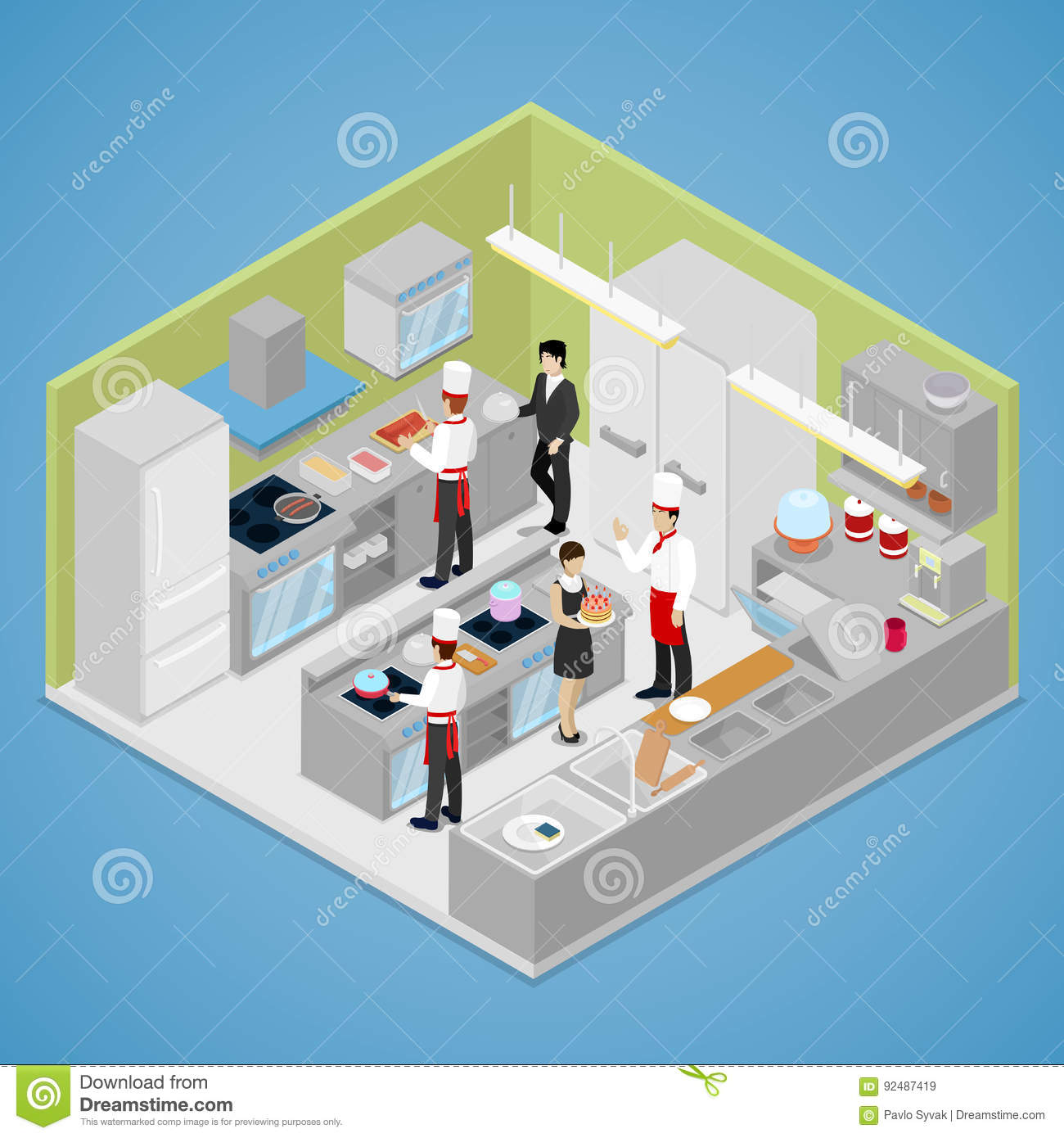 Restaurant Kitchen Illustration restaurant kitchen interior. chef cooking food. isometric flat 3d