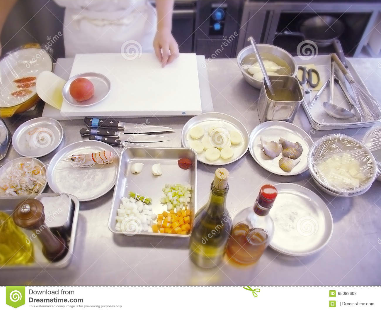 Restaurant Kitchen Table Restaurant Kitchen Table With A Cutting Board Stock Photo Image