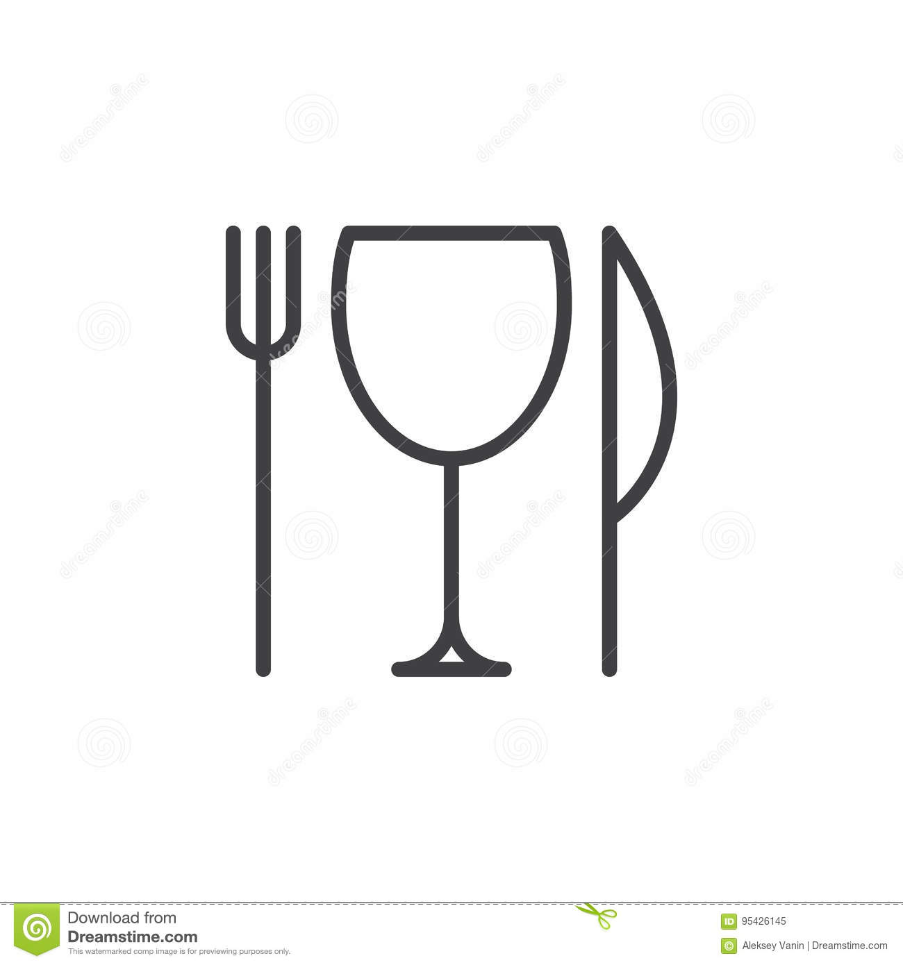 Restaurant Knife Fork And Glass Line Icon Outline Vector Sign