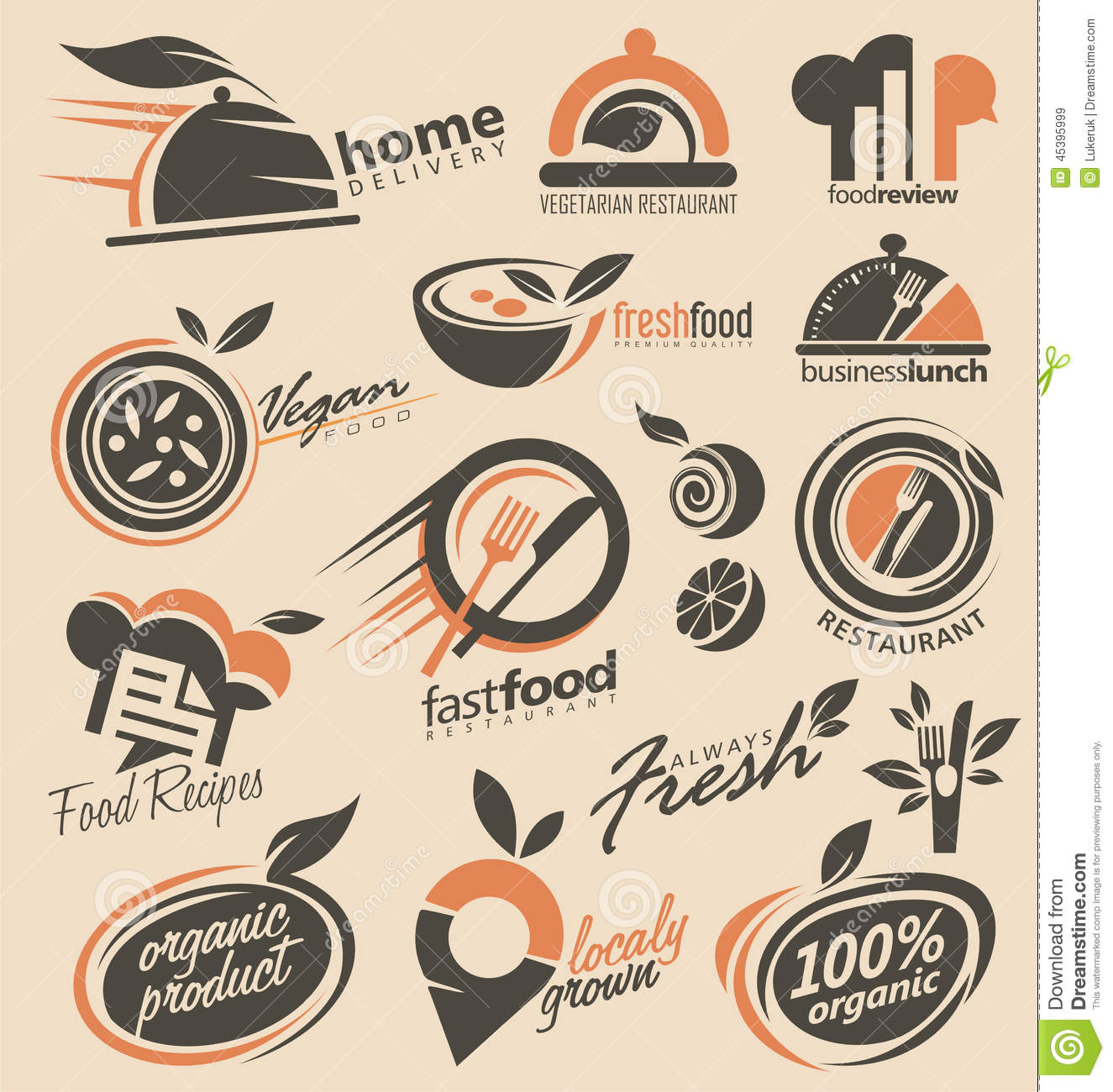 Restaurant Logo Design Collection Stock Vector Illustration Of Fresh Idea 45395999