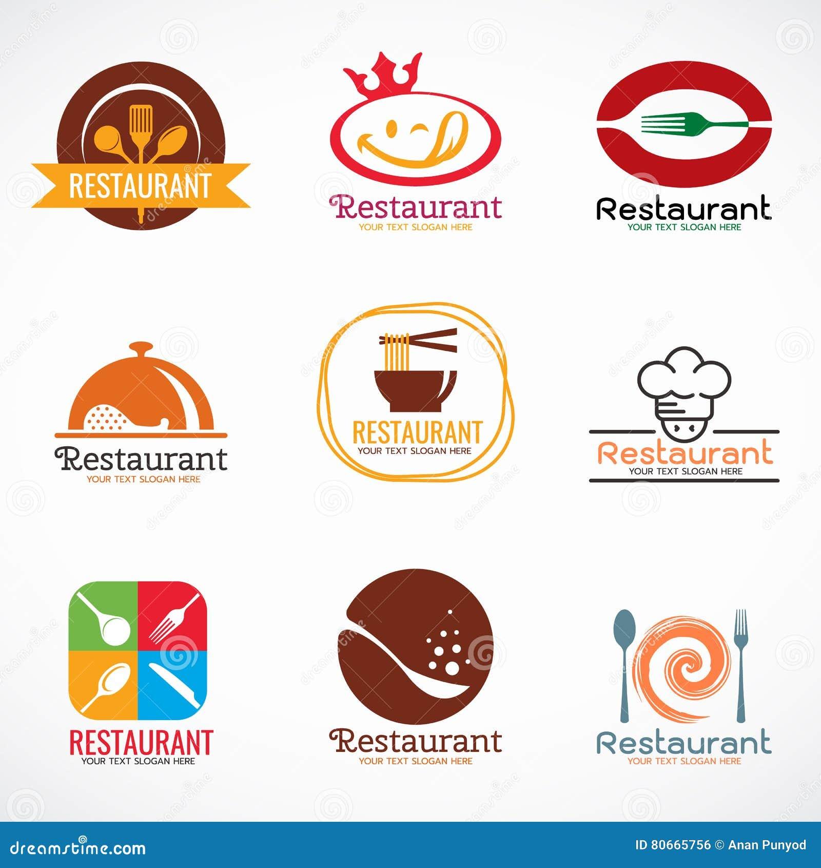 Restaurant logo and food shop vector set design stock