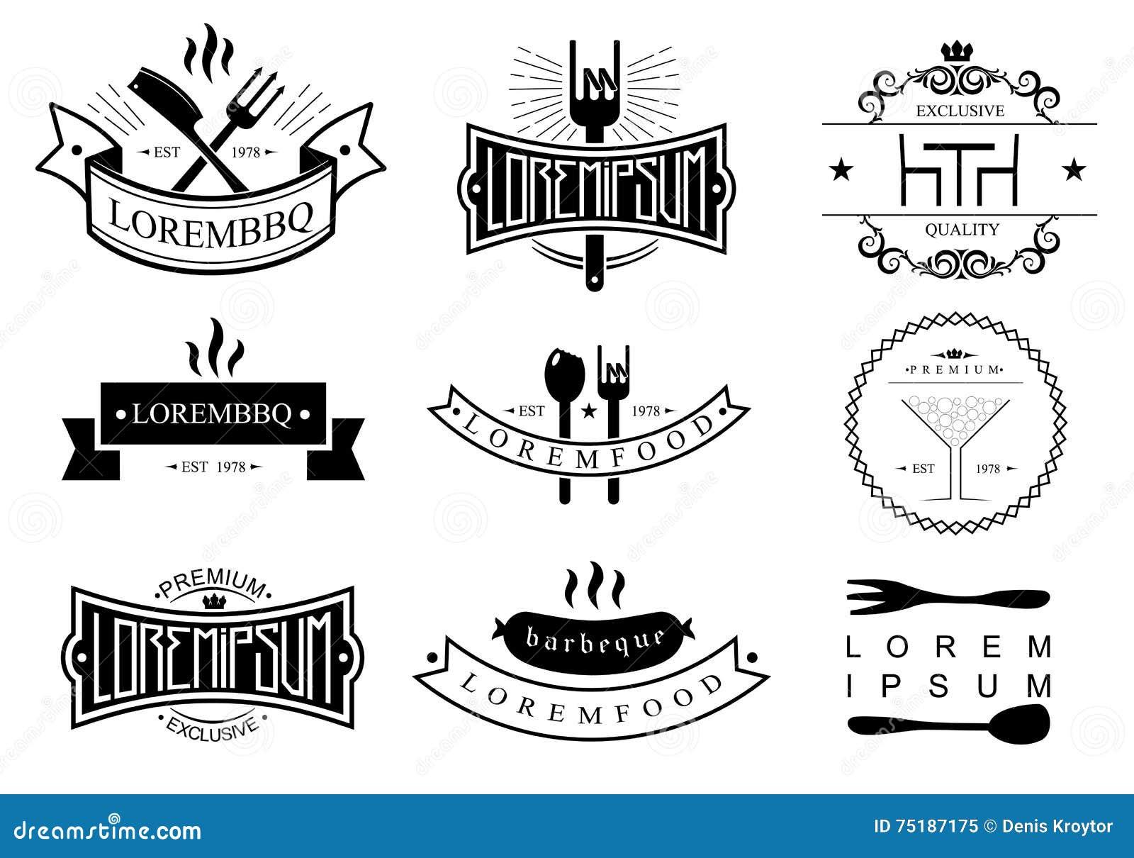Restaurant Logo Templates Stock Vector Illustration Of