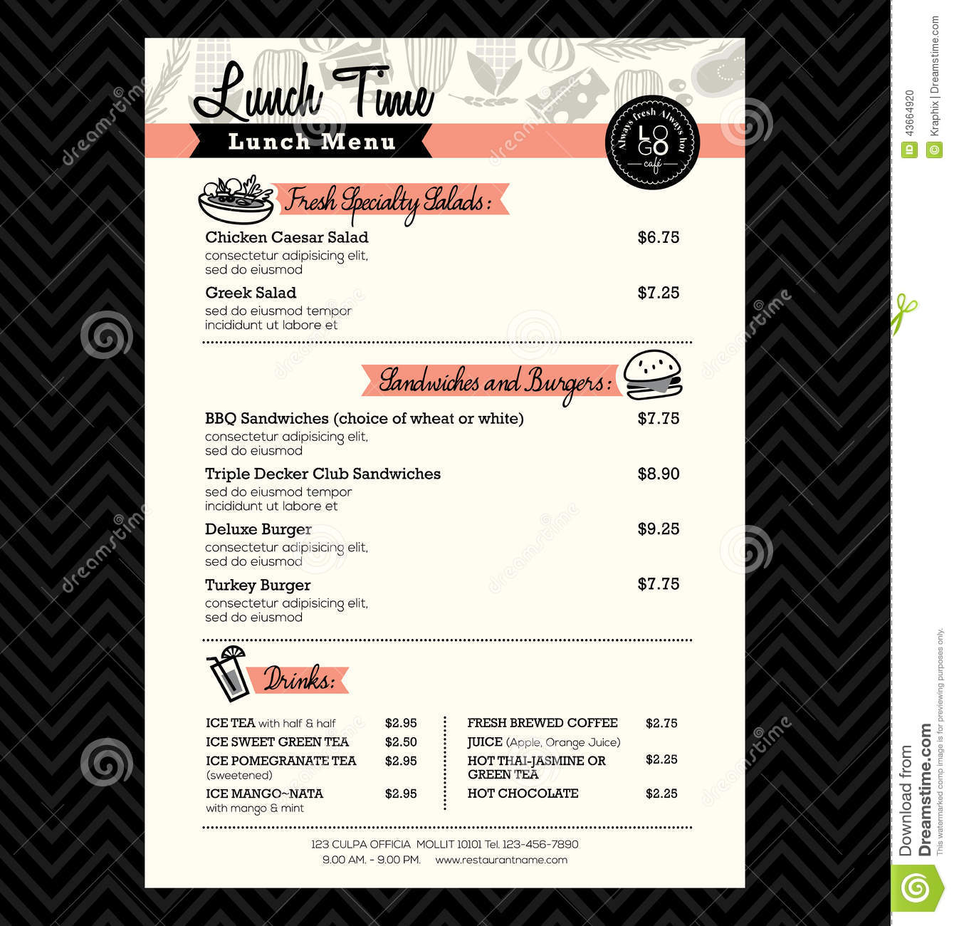 sandwich shop menu template - restaurant lunch menu design template layout stock vector