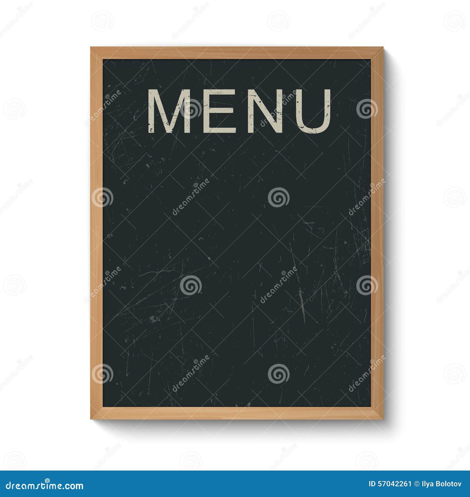 Restaurant Menu Board In A Wooden Frame Stock Vector