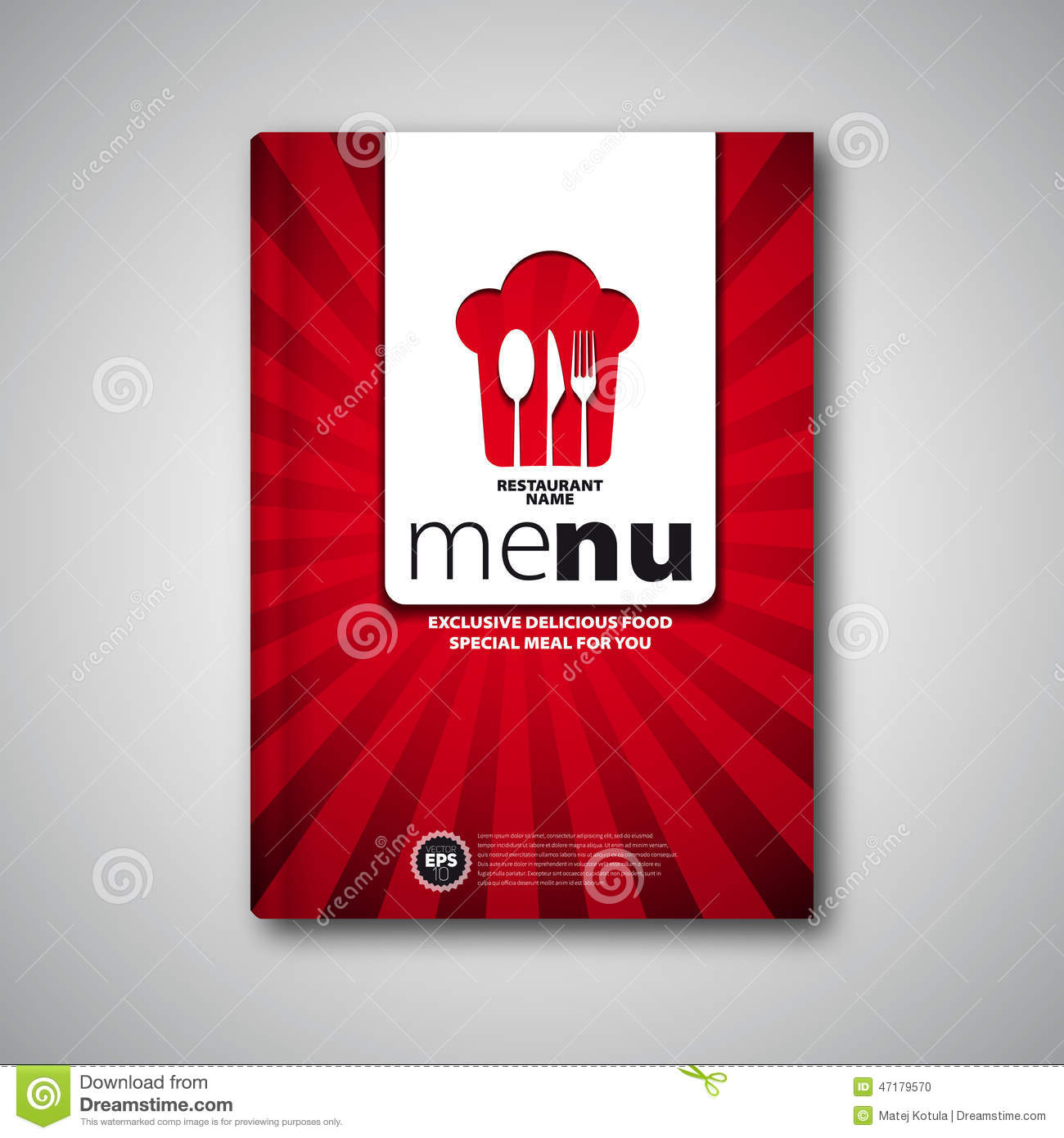 Restaurant menu card design template brochure book cover