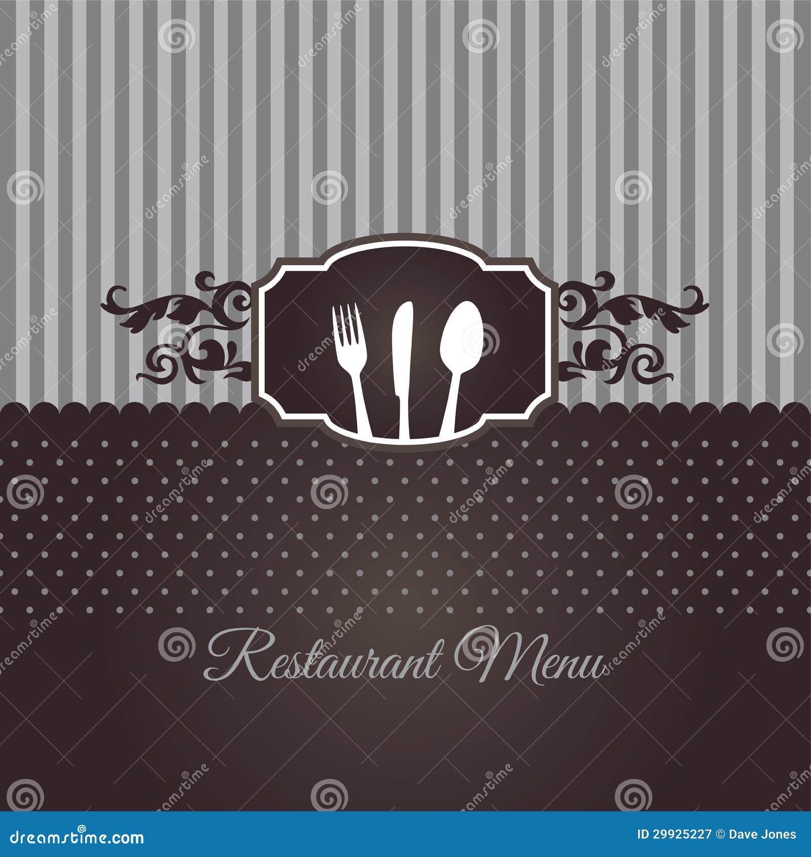 restaurant menu cover in chocolate brown stock vector