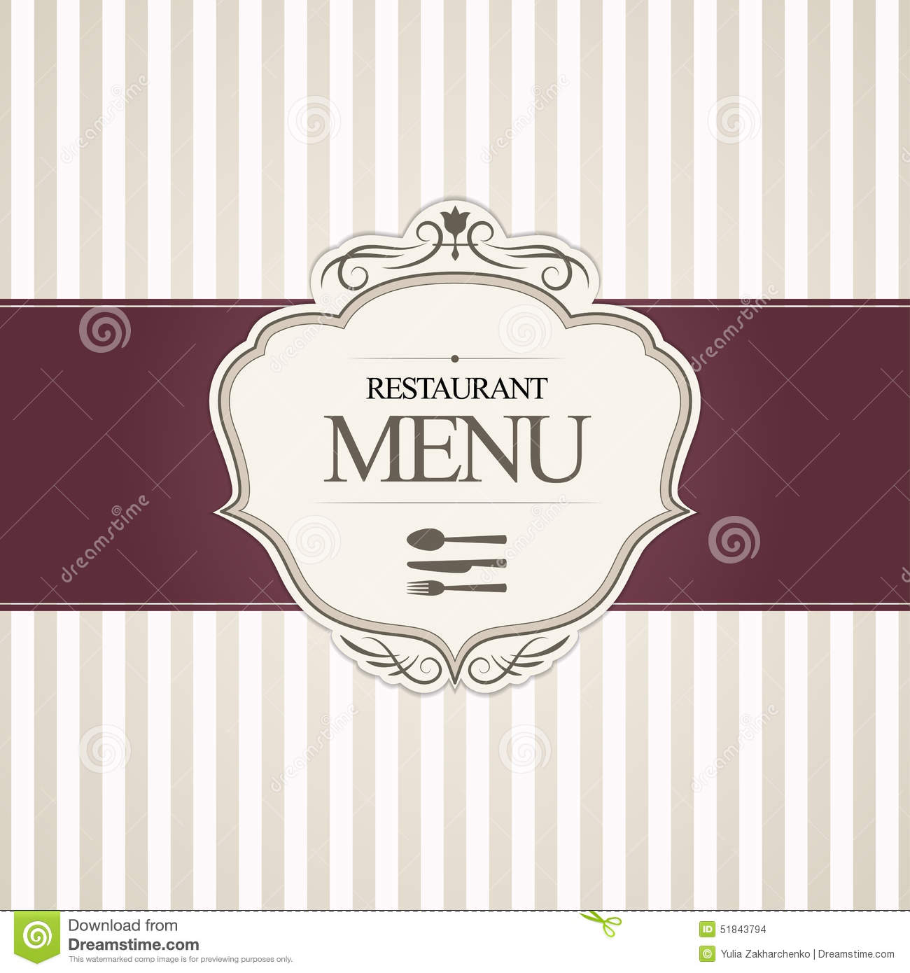 Restaurant menu cover design stock vector image