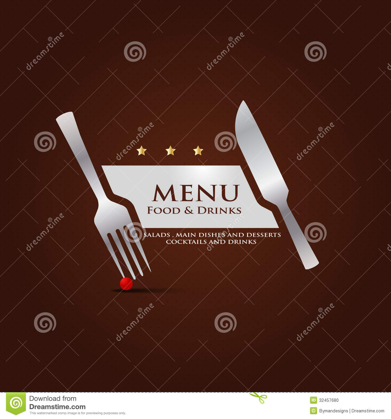 Restaurant menu cover design stock photo image
