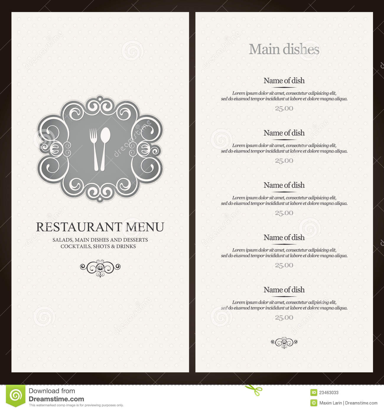 Restaurant Menu Design Stock Photos Image 23463033