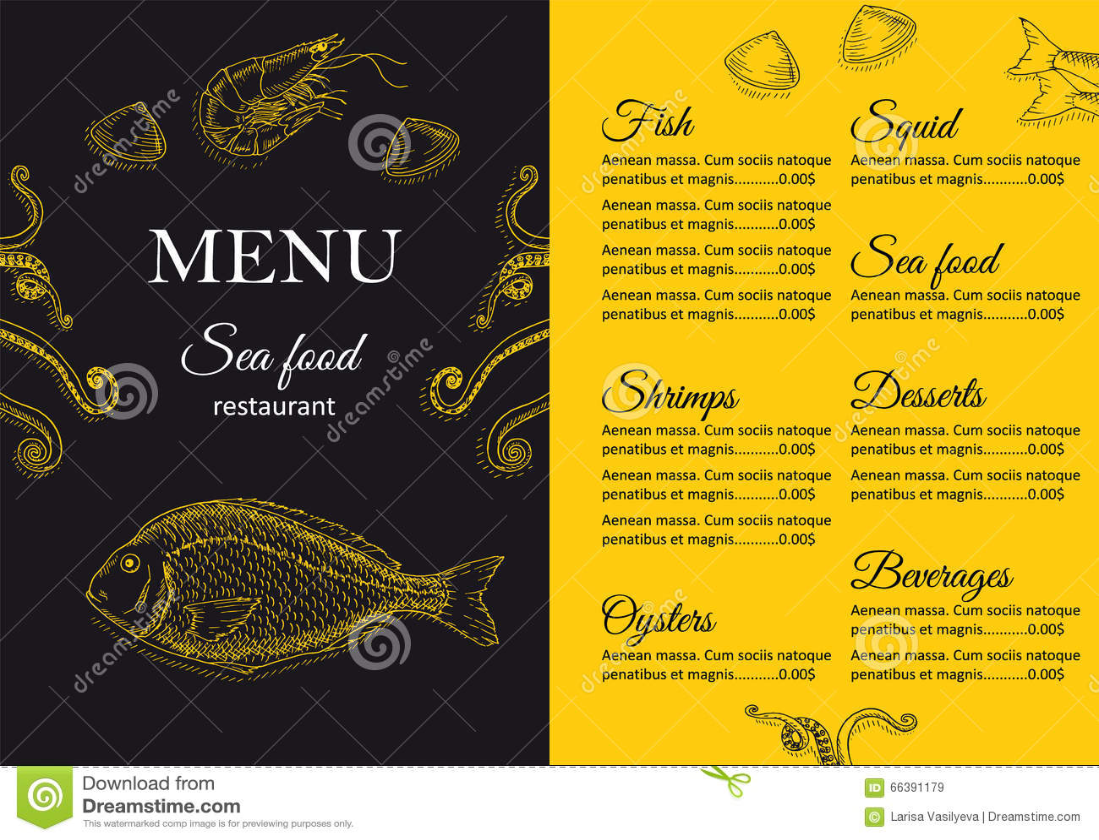 Restaurant menu design stock vector. Image of dining