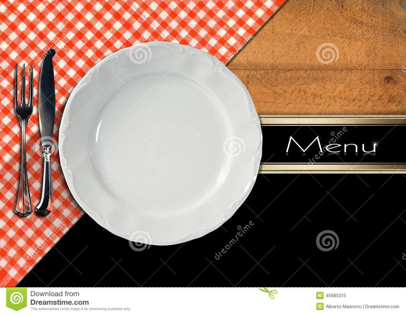 Restaurant Menu Design Stock Illustration Image 45685315 : restaurant menu design empty white plate silver cutlery wooden background red white tablecloth 45685315 from dreamstime.com size 1300 x 1009 jpeg 227kB