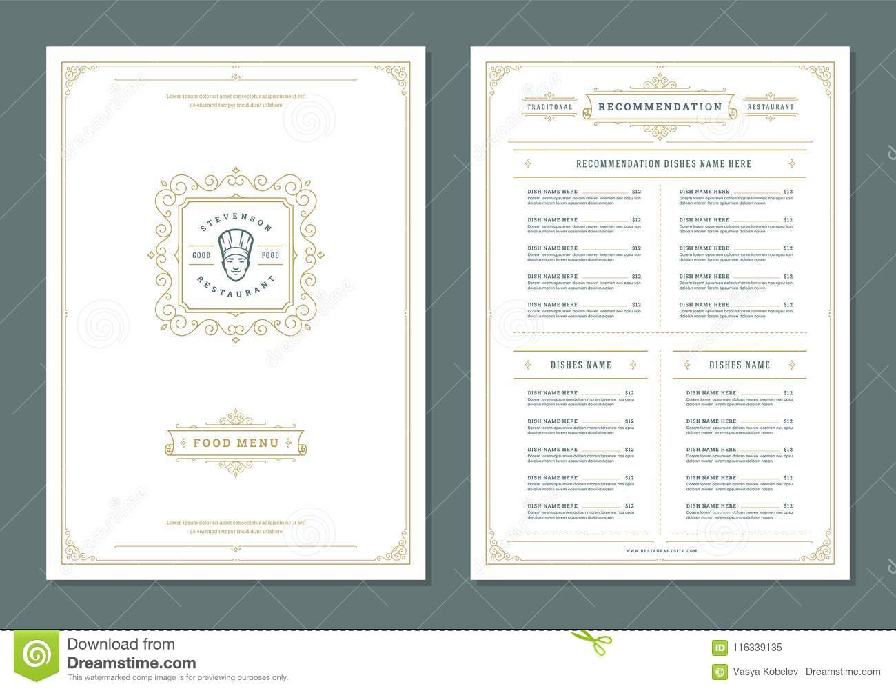 restaurant menu design and label vector brochure template stock