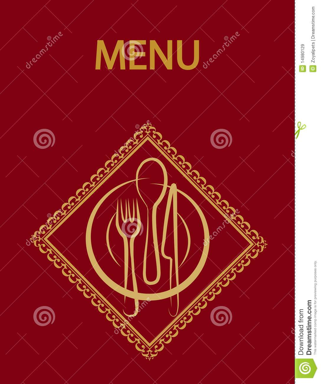 Restaurant Menu Design With Red Background-2 Royalty Free