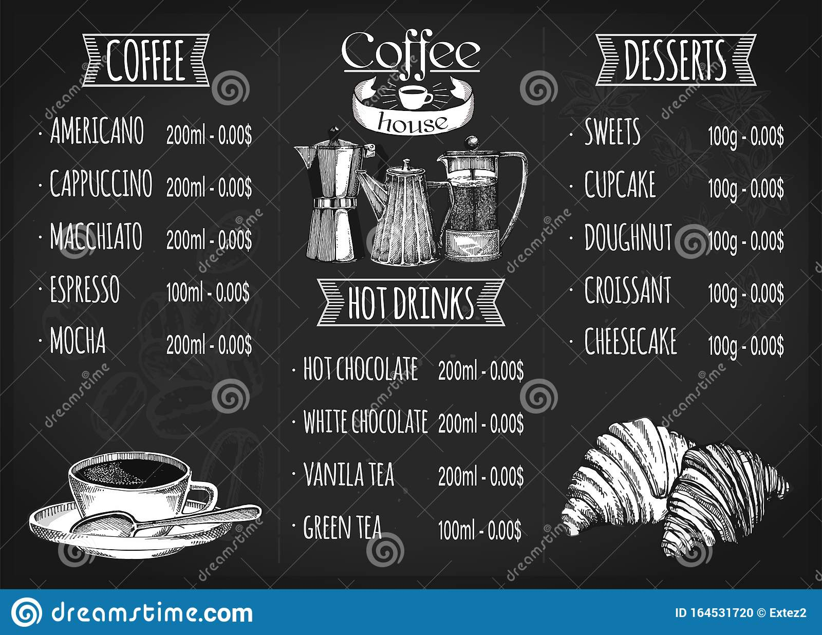 Restaurant Menu Design Coffee Restaurant Brochure Vector Coffee Shop Menu Design Stock Vector Illustration Of Chef Label 164531720