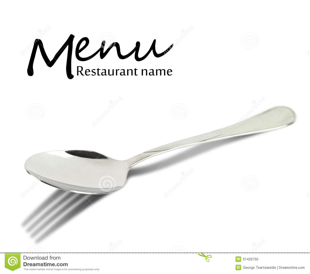 Restaurant Menu Design. Spoon With Fork Shadow Stock Photo ...