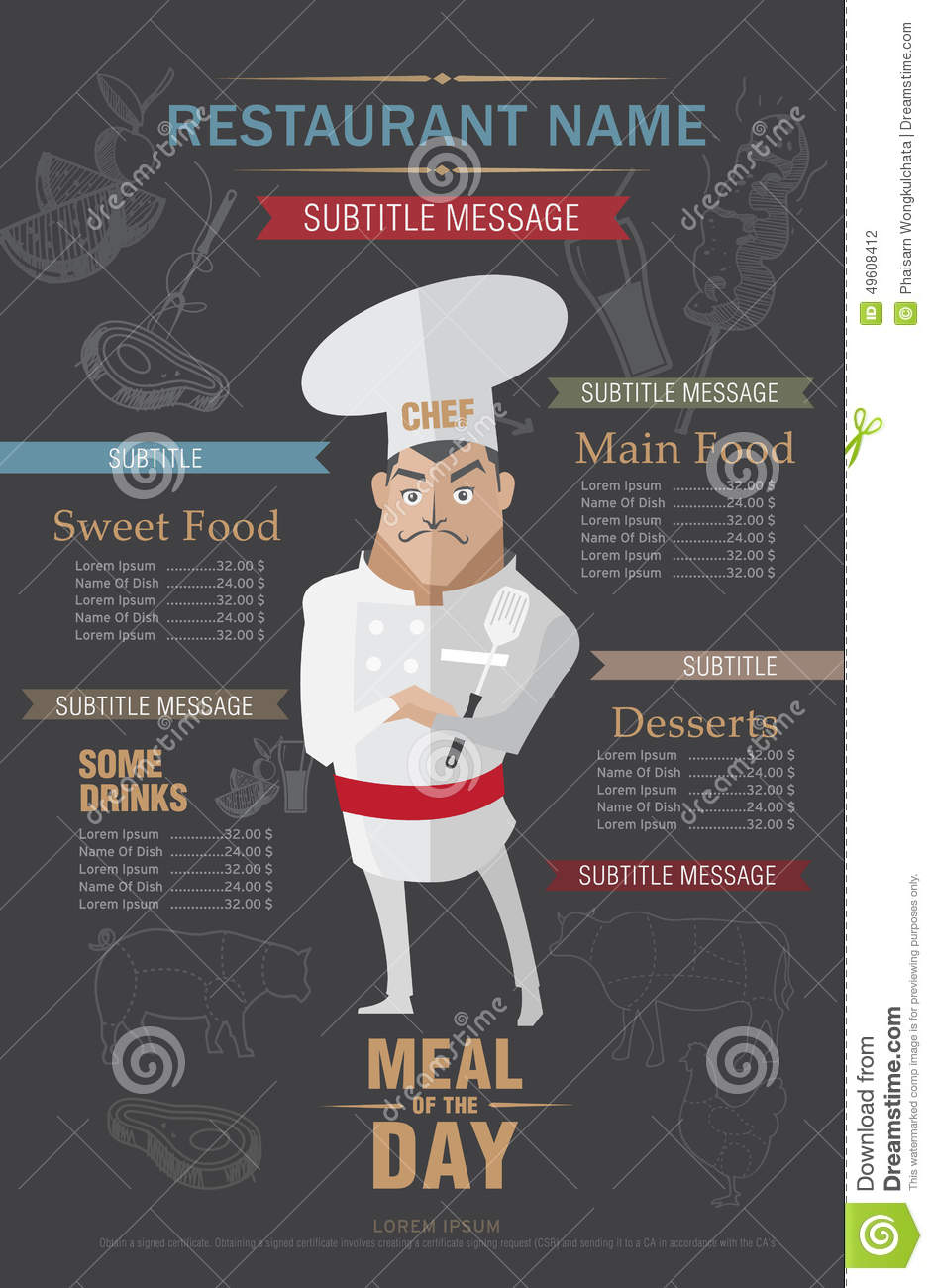 Restaurant Menu Design Template Stock Vector Illustration Of Background Cafe 49608412
