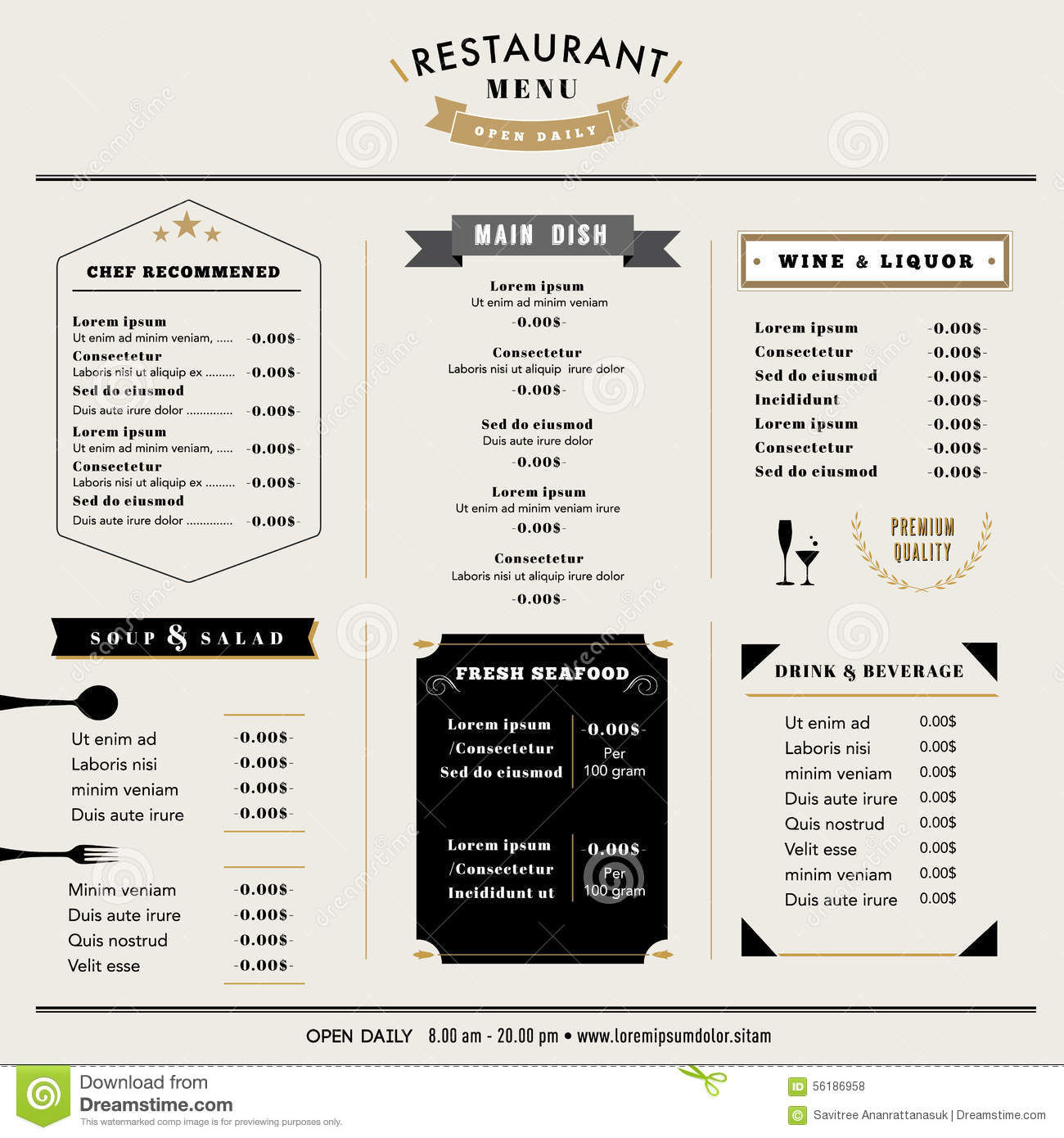 Restaurant Menu Design Template layout with icons and emblem Hipster ...