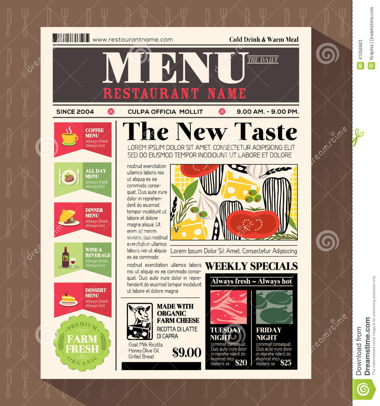 Restaurant Menu Design Template In Newspaper Style Stock Vector ...