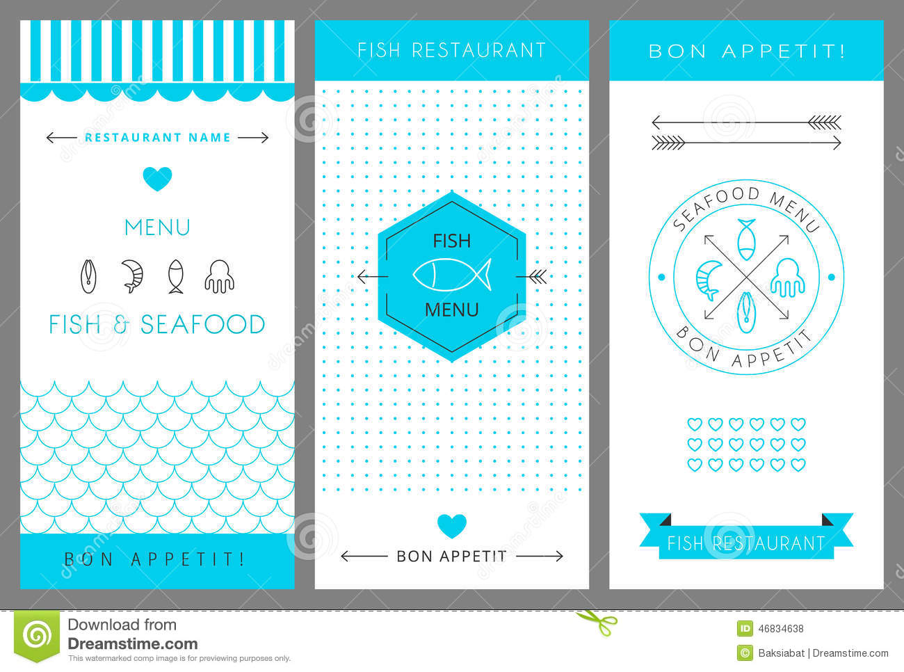 Restaurant menu design template seafood vector stock for Max fish menu