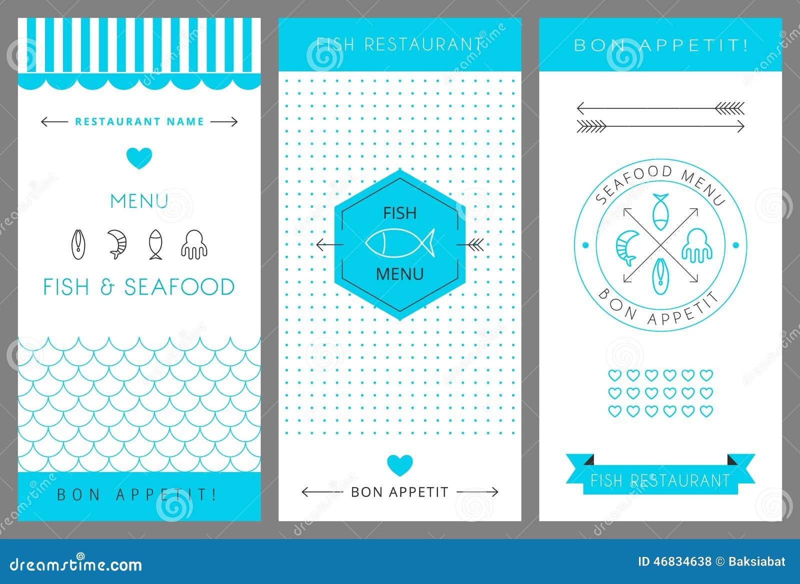 Restaurant menu design template seafood vector stock