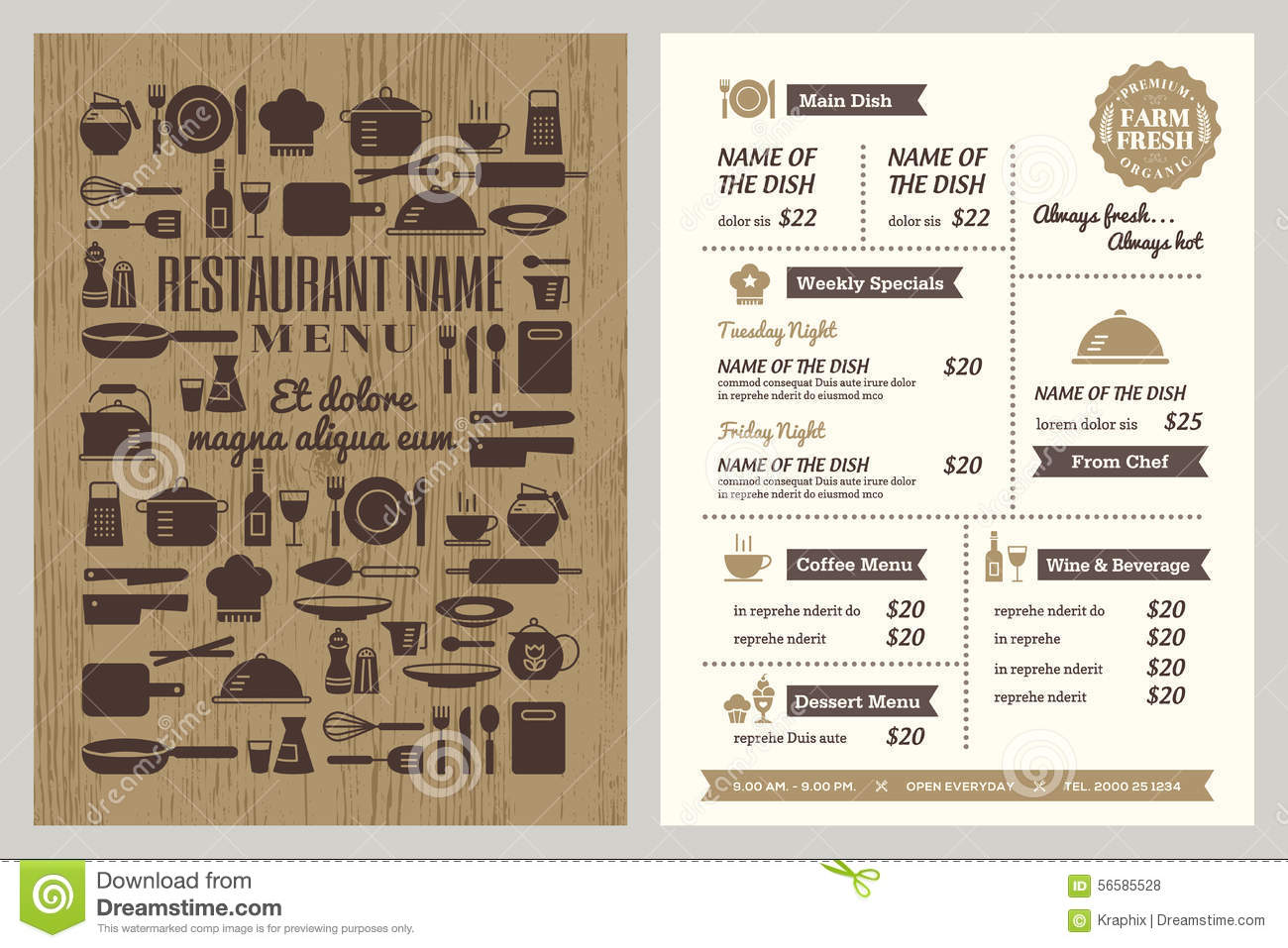 Restaurant menu design template stock vector for Restaurant layout templates