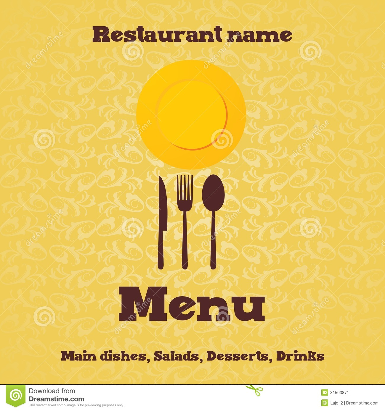 Restaurant menu design stock vector image of letter