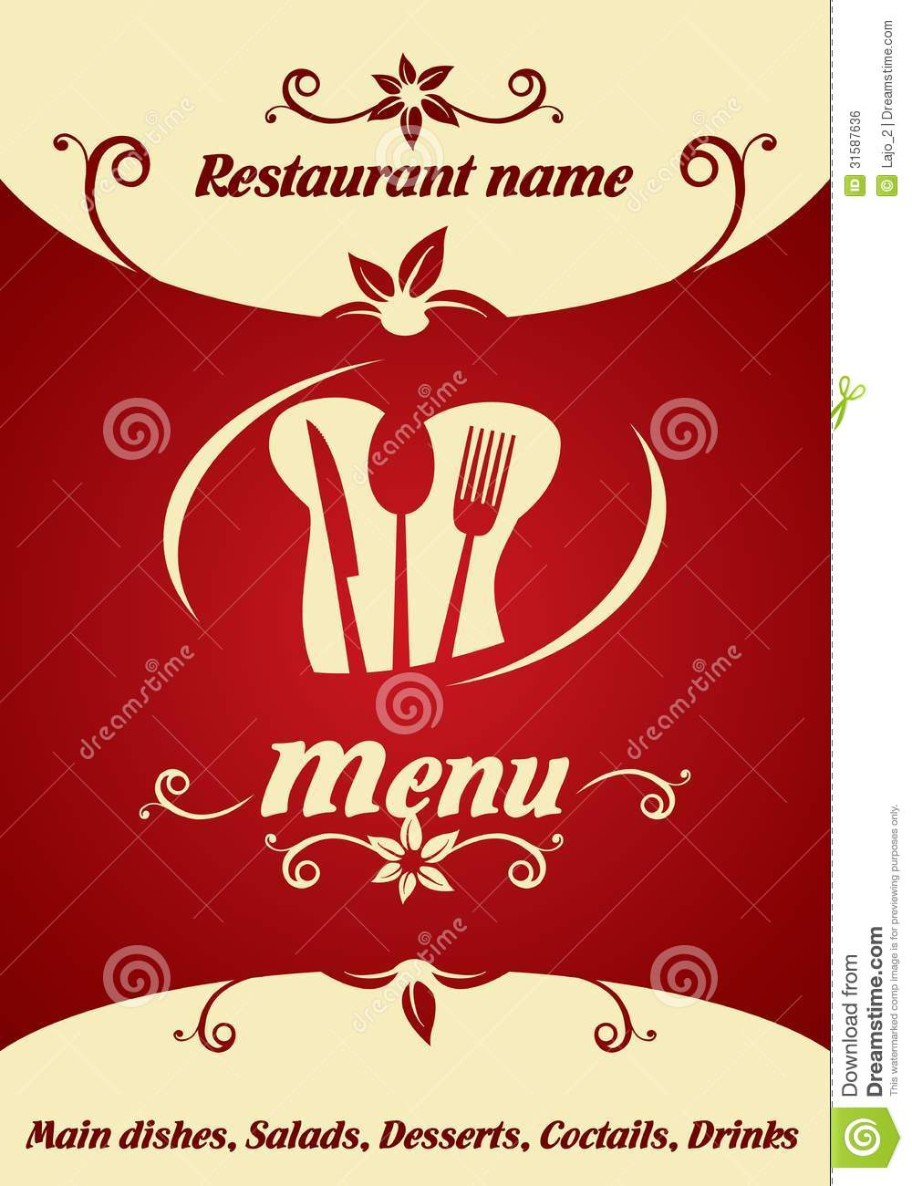 Restaurant menu design stock vector illustration of